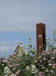 SX06895 Rusty metal pole sticking from flowery hedge.jpg
